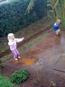 Jumping in our gumboots!