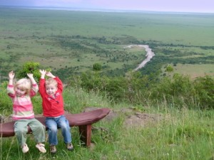 Riley and Liam wildebeest-spotting at the Mara River