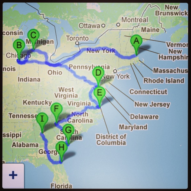Our U.S. itinerary Dec '12-Feb '13