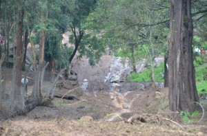 mudslide near the upper gate portion of Rift Valley Academy, uphill of Kijabe Hospital
