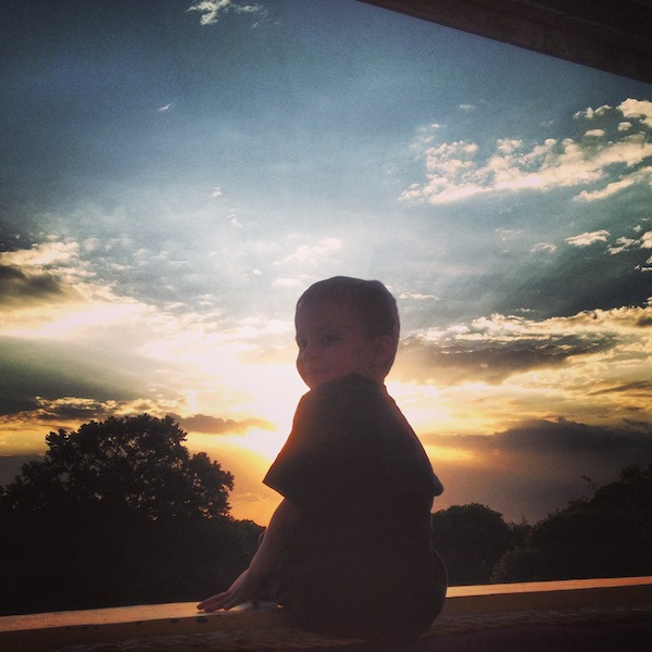 And....sunset on our front porch.  With a little man.