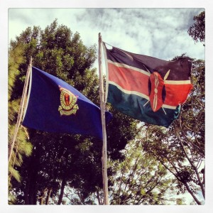 Kenyan national and police flags