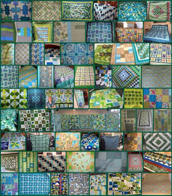 A photo collage of the over sixty quilts that have arrived already for the Lala Salama 100 Quilts Project