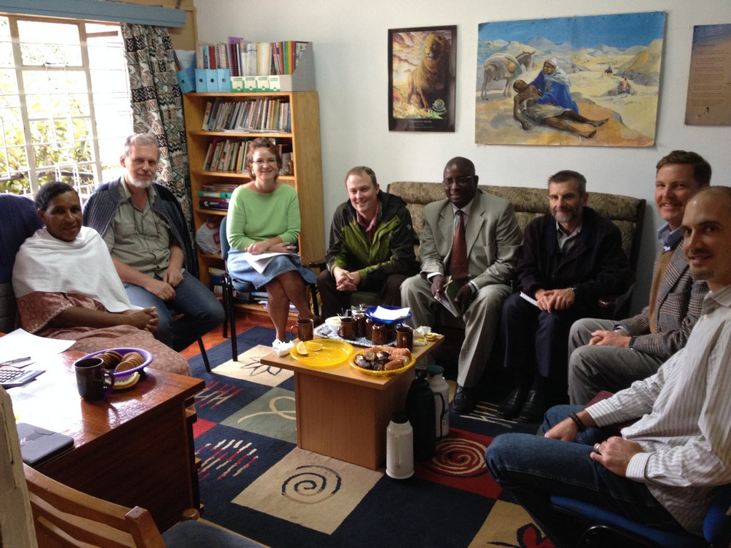 """Introducing...the new SIM Kenya leadership team! Leaders originating from Kenya, UK, Canada, Australia, Germany, and the US. How's that for a foretaste of heaven? We are in the process of rolling out a transformational shift in how SIM does its work in Kenya: moving to team-based work and ministry. Andy is the Team Leader of the """"Kijabe SIM Team""""...soon to have 23 people (and 17 children!) by the end of 2014."""