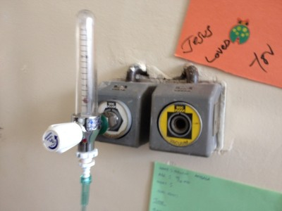 Oxygen and suction outlets in the pediatrics ward