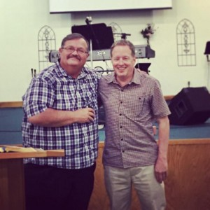 Senior pastor Dave Beebe with founding pastor, Andy's dad Bill Steere