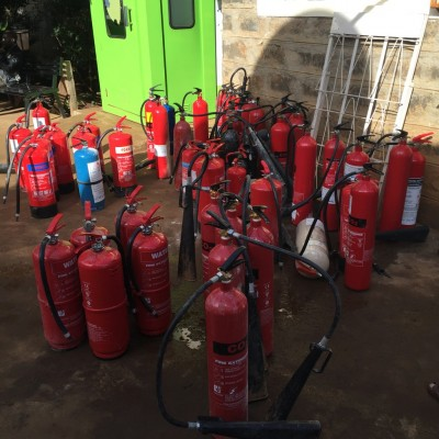 It took 55 fire extinguishers (e.g. all of them!) plus the RVA water pump to put the fire out.