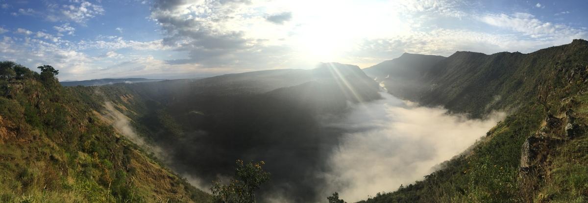 Sunrise over the inner crater