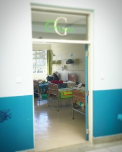 "Each of the ward rooms has the theme of an ""Island of Hope"" with a green and sand colour scheme.  Each named A through K with a word of encouragement - this is G, or Grace, ward."